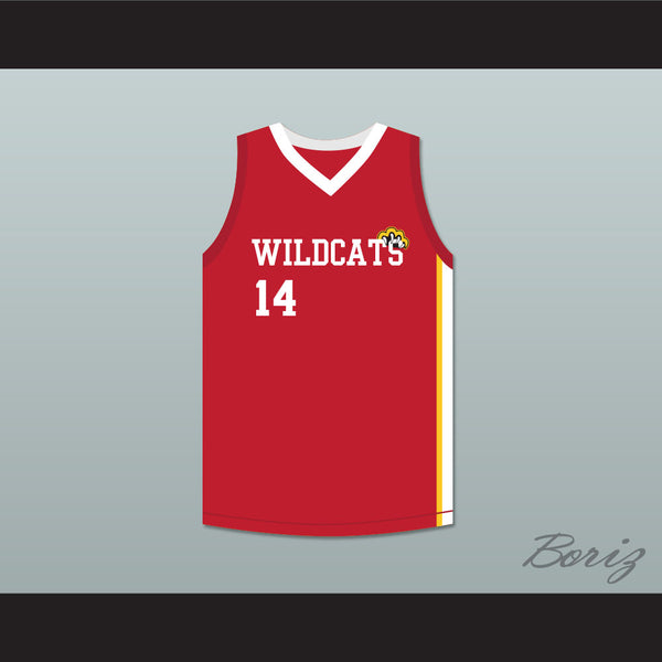 Troy Bolton 14 East High School Wildcats Red Basketball Jersey HSM3 877f1d456