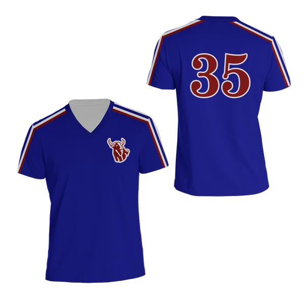the latest e68b5 2ee1a Monty Brewster 35 Hackensack Bulls Blue Baseball Jersey Brewster Mill