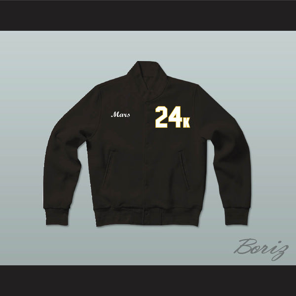 Hooligans 24 K Solid Black Varsity Letterman Jacket-Style Sweatshirt