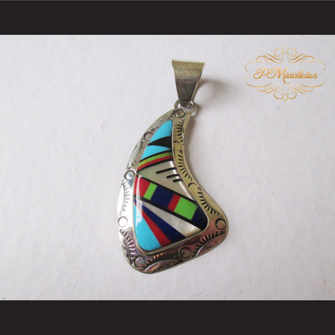 P Middleton Asymmetric Shape Pendant Sterling Silver .925 with Micro Inlay Stones - borizcustom