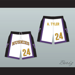 Antoine Tyler 24 Huskies White Basketball Shorts