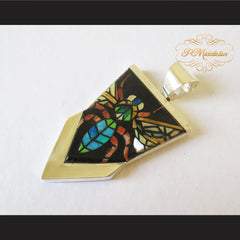 P Middleton Insect Pendant Sterling Silver .925 with Micro Inlay Stones - borizcustom