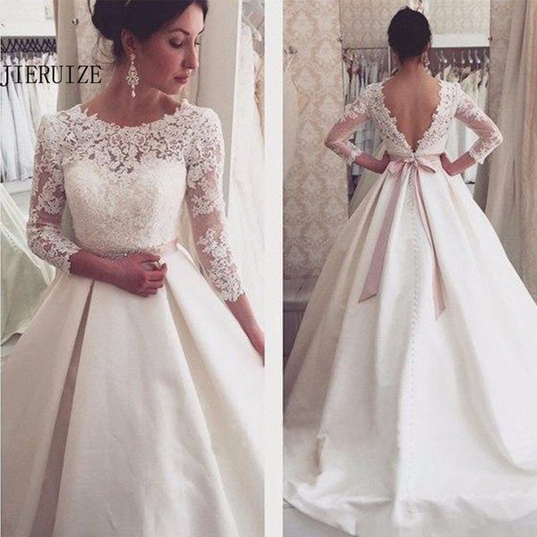 Jieruize White Lace Appliques Backless Wedding Dresses 3 4 Sleeves Elegant Simple Bridal Dresses Open Back Cheap Wedding Gowns