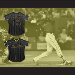 Shohei Ohtani 16 Japan Samurai Black Pinstriped Baseball Jersey 2