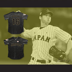Shohei Ohtani 16 Japan Samurai Black Pinstriped Baseball Jersey