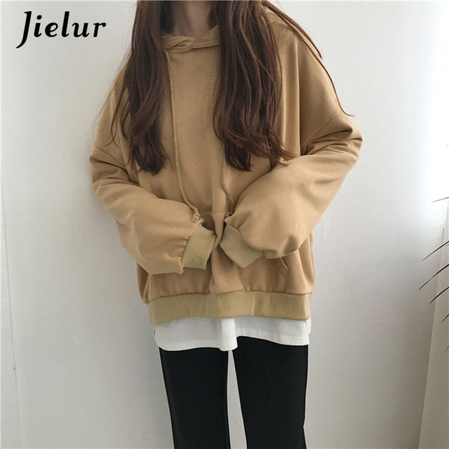 Jielur 7 Solid Color Hooded Thin New Kpop Hoodie Women Chic Harajuku Sweatshirt Basic Black Pink Loose Streetwear Sudadera Mujer