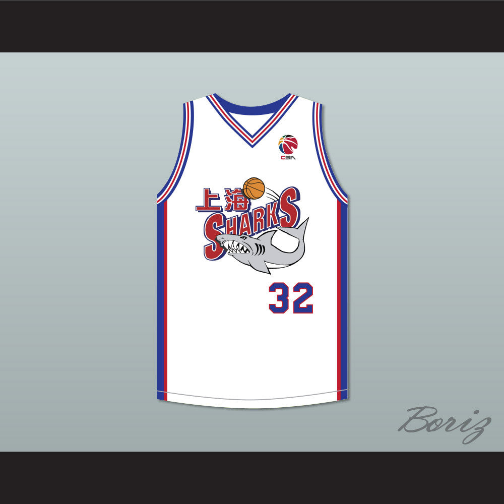 best cheap c5201 33bca Jimmer Fredette 32 Shanghai Sharks White Basketball Jersey with CBA Patch