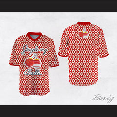 Jingle My Balls Christmas Themed Red and White Football Jersey