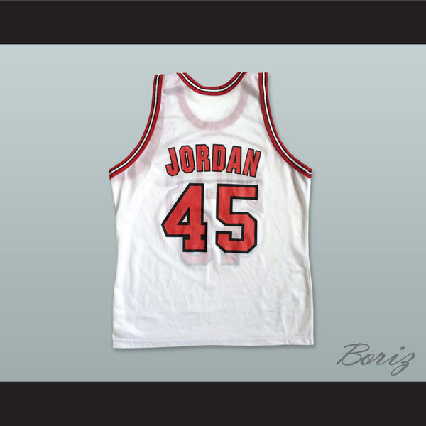 meet 67666 c25be Michael Jordan 45 Post Retirement White Basketball Jersey