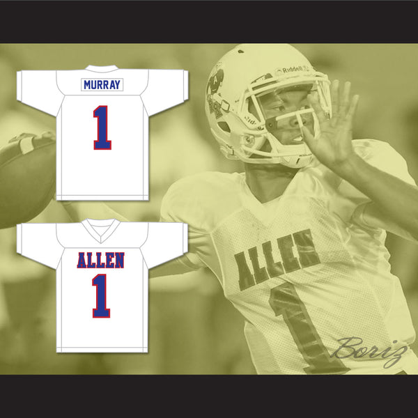 super popular 9de02 b7abc Kyler Murray 1 Allen High School White Football Jersey