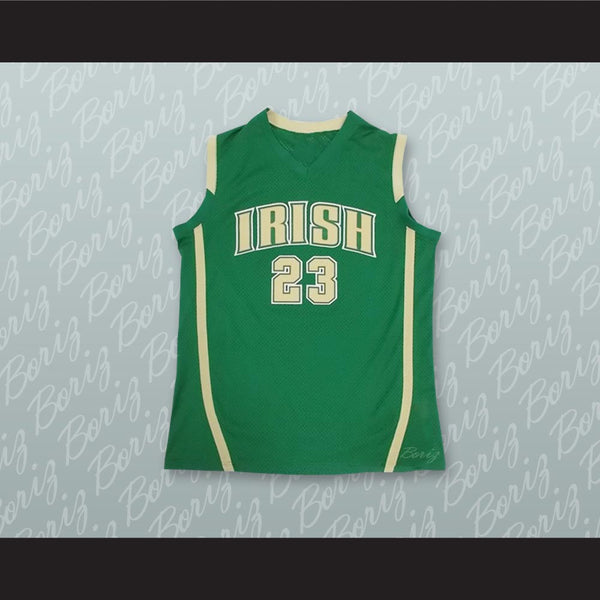 Lebron James Fighting Irish High School Green Basketball Jersey Stitch Sewn - borizcustom