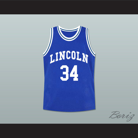 Ray Allen Jesus Shuttlesworth 34 Blue Lincoln High School Basketball Jersey He Got Game - borizcustom - 1