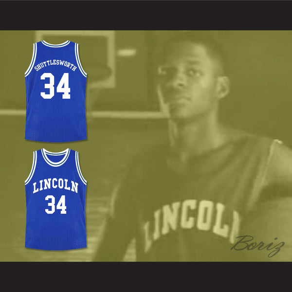 new styles a2ba2 f51a7 Ray Allen Jesus Shuttlesworth 34 Blue Lincoln High School Basketball Jersey  He Got Game