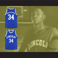 Ray Allen Jesus Shuttlesworth 34 Blue Lincoln High School Basketball Jersey He Got Game - borizcustom - 3
