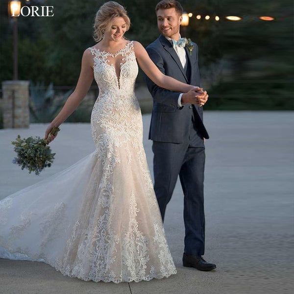 Lorie 2019 Summer Mermaid Wedding Dress Lace Appliques Bridal Gowns Lace Wedding Gowns Custom Made Plus Size Robe De Mariee