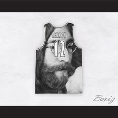 John Lennon 12 Instant Karma Black and White Close Up Basketball Jersey