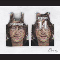 John Lennon 14 Jealous Guy Close Up Radiant Energy Basketball Jersey