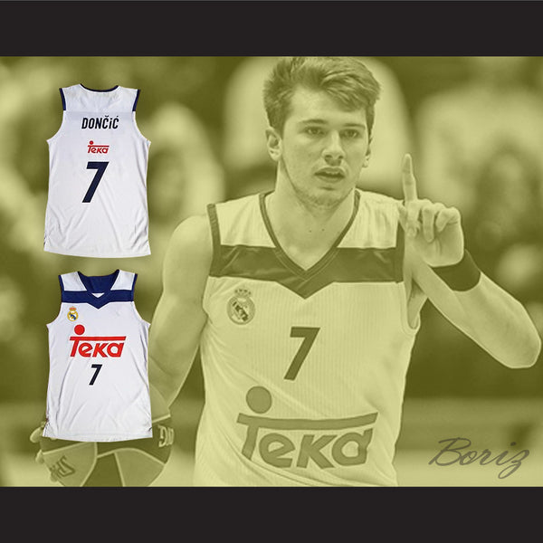 712df6e592da Luka Doncic 7 Real Madrid White Basketball Jersey