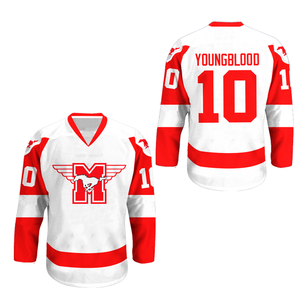 MUSTANGS Hockey Jersey Youngblood Movie Rob Lowe Sewn New All Sizes Co 343f4ad51b