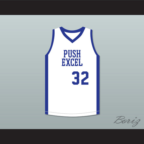Magic Johnson 32 Push Excel Pro Basketball Classic White Basketball Jersey 1985 Charity Event