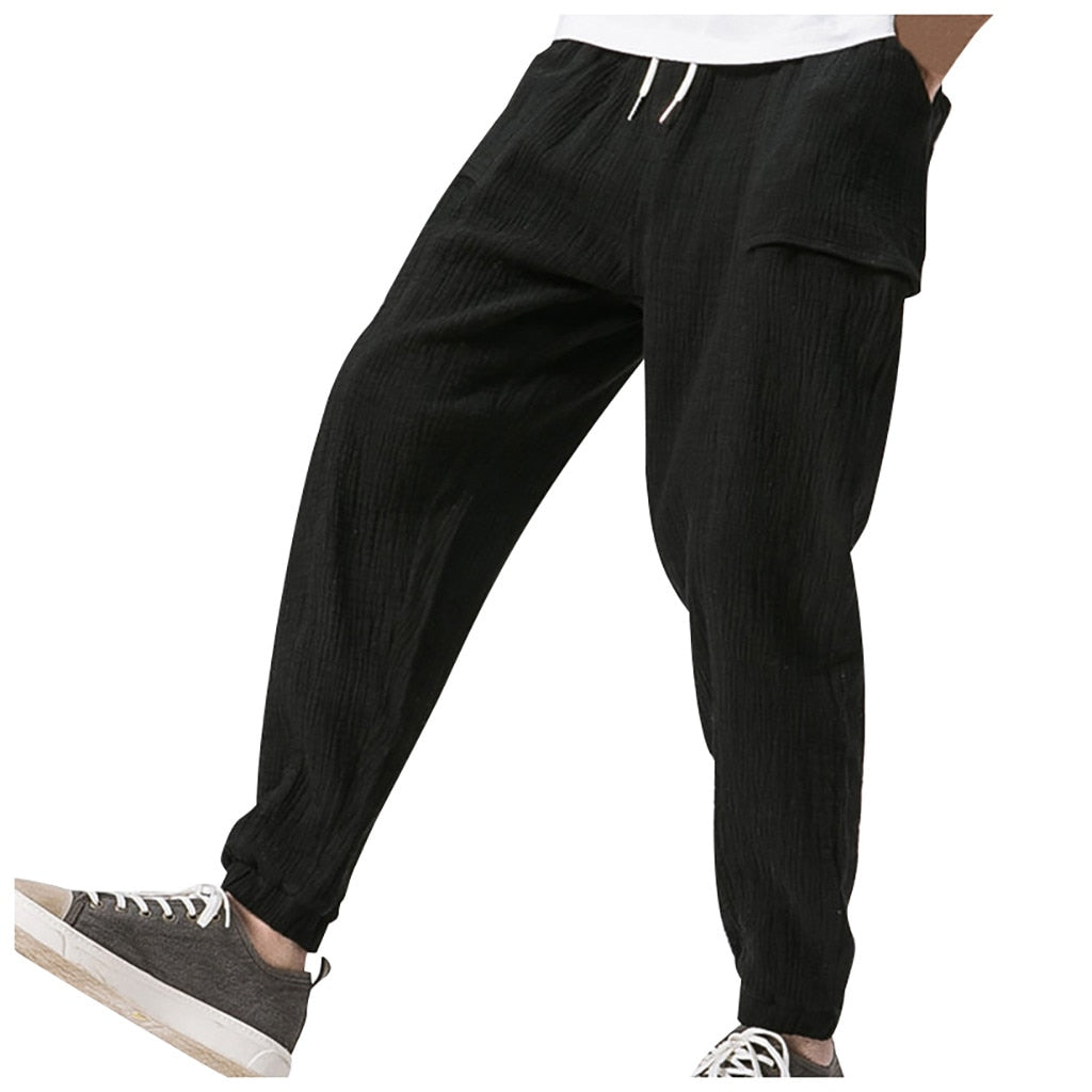 Men Fashion Splicing Printed Overalls Pocket Sport Work Casual Trouser Pants