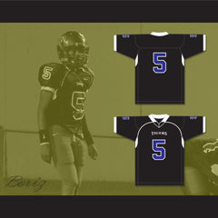 Redmond 5 Manassas Tigers High School Black Football Jersey Undefeated