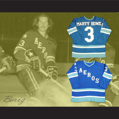 Marty Howe 3 WHA Houston Aeros Hockey Jersey Stitch Sewn All Sizes New - borizcustom