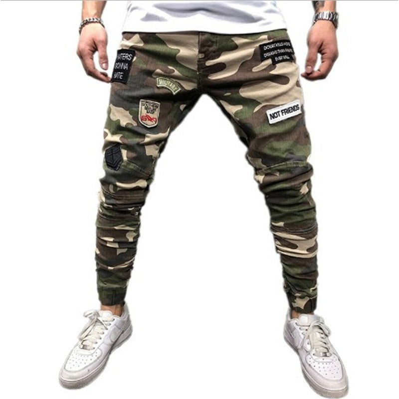 2019 Men Ripped Jeans Slim Fit Skinny Stretch Jean Pants Plaid Printed Trousers