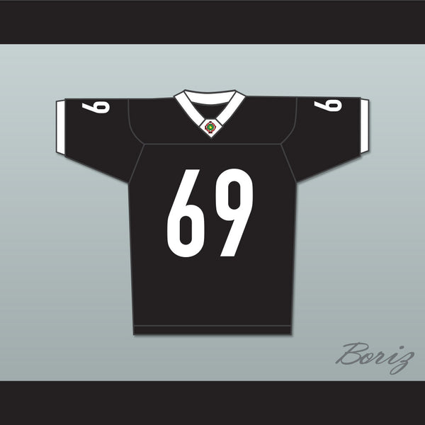 Patrick 'Madman' Kelly 69 Miami Sharks White Trim Football Jersey Any Given Sunday Includes AFFA Patch - borizcustom - 1