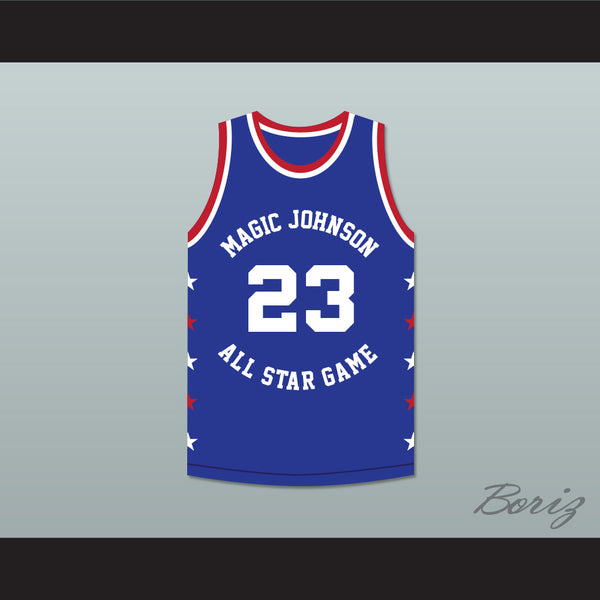 big sale c544c 9afb6 Michael Jordan 23 Magic Johnson All Star Game Blue Basketball Jersey 1988  Midsummer Night's Magic Charity Event