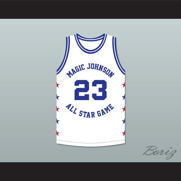 buy online 58146 004c4 Michael Jordan 23 Magic Johnson All Star Game White Basketball Jersey 1989  Midsummer Night's Magic Charity Event