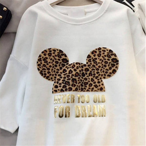 Minnie Mickey Mouse Women Cartoon Plus Size Dresses Short Sleeve Black  White Casual Mini Fashion Loose Summer Dress Leopard 2019