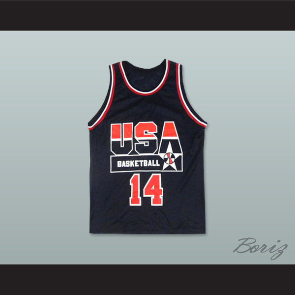 Alonzo Mourning 14 USA Team Away Basketball Jersey - borizcustom - 1