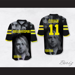 Kurt Cobain 11 Nirvana Smells Like Teen Spirit Black Football Jersey