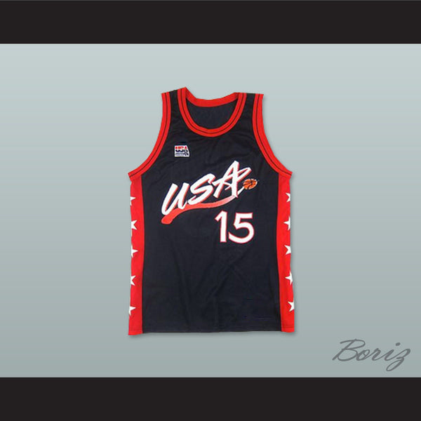 1996 Hakeem Olajuwon 15 USA Team Away Basketball Jersey - borizcustom - 1