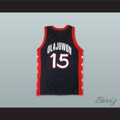 1996 Hakeem Olajuwon 15 USA Team Away Basketball Jersey - borizcustom - 2