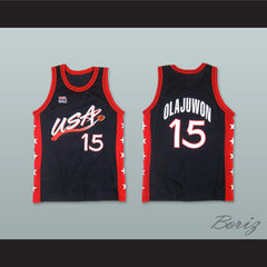 1996 Hakeem Olajuwon 15 USA Team Away Basketball Jersey - borizcustom - 3