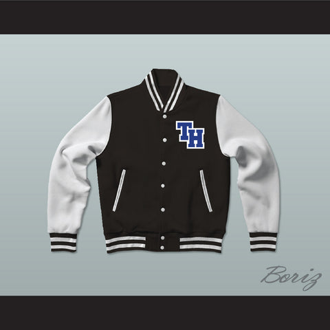 Nathan Scott One Tree Hill Ravens Black Varsity Letterman Jacket-Style Sweatshirt - borizcustom - 1