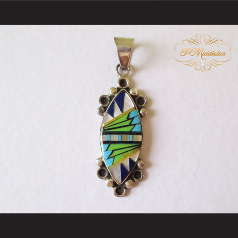 P Middleton Almond Shape Pendant Sterling Silver 925 with Semi-Precious Stones - borizcustom