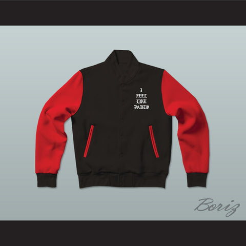 Pablo Escobar I Feel Like Pablo Black/Red Varsity Letterman Jacket-Style Sweatshirt