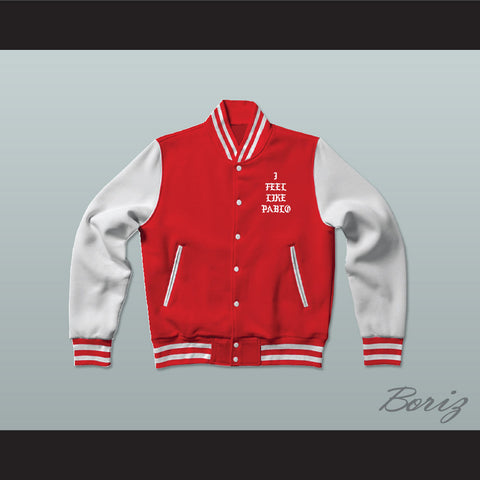 Pablo Escobar I Feel Like Pablo Red/White Varsity Letterman Jacket-Style Sweatshirt
