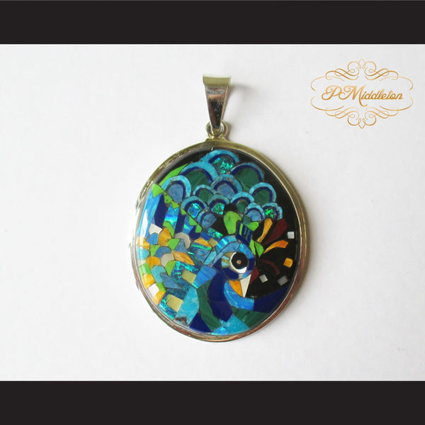 P Middleton Peacock Pendant Sterling Silver .925 with Micro Stone Inlay - borizcustom - 1
