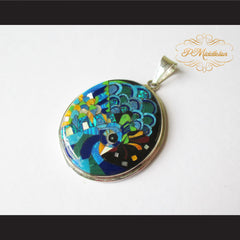 P Middleton Peacock Pendant Sterling Silver .925 with Micro Stone Inlay - borizcustom - 2