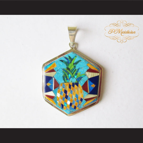 P Middleton Pineapple Hexagon Pendant Sterling Silver .925 with Micro Stone Inlay - borizcustom