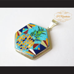 P Middleton Pineapple Hexagon Pendant Sterling Silver .925 with Micro Stone Inlay - borizcustom - 2