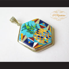 P Middleton Pineapple Hexagon Pendant Sterling Silver .925 with Micro Stone Inlay - borizcustom - 3