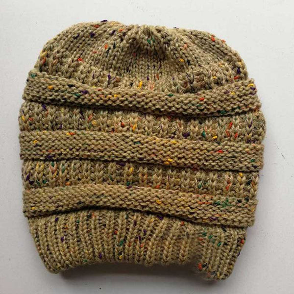 4459d4e12 Ponytail Beanie Warm Winter Hats For Women Hat Stretch Cable Knit Messy Bun  Hats Holey Ladies Soft Ski Cap Crochect Beanie Caps