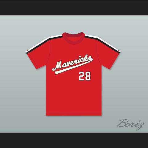 Kurt Russell 28 Portland Mavericks Red Baseball Jersey The Battered Bastards of Baseball