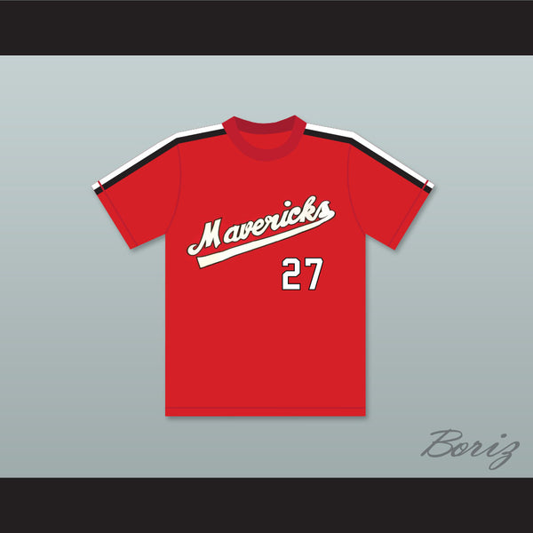 Reggie Thomas 27 Portland Mavericks Red Baseball Jersey The Battered Bastards of Baseball
