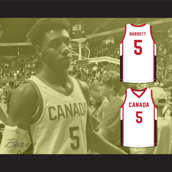 new product ac70f c407f R.J. Barrett 5 Canada White Basketball Jersey